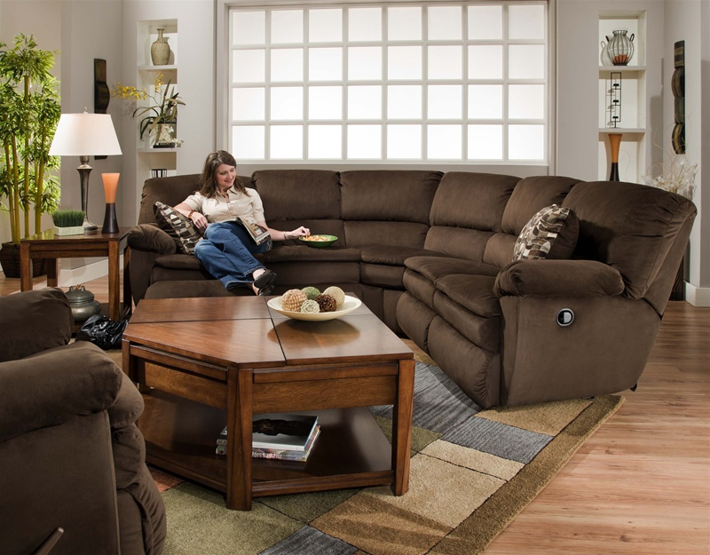 Falcon chocolate fabric 2 piece reclining sectional by for 2 piece sectional sofa with recliner