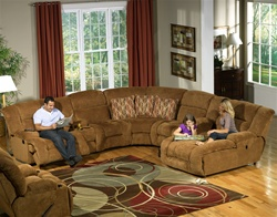 Enterprise 4 Piece Sectional with Storage and Cupholders in Camel Color Fabric by Catnapper - 1856-SEC