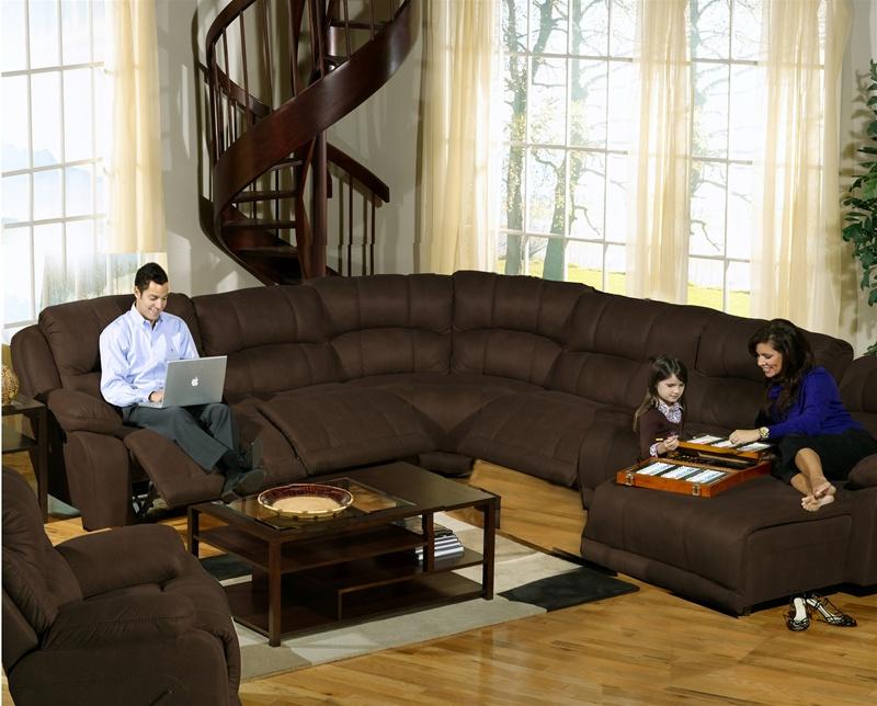 Compass espresso fabric 6 piece modular reclining for Catnapper cloud nine chaise recliner