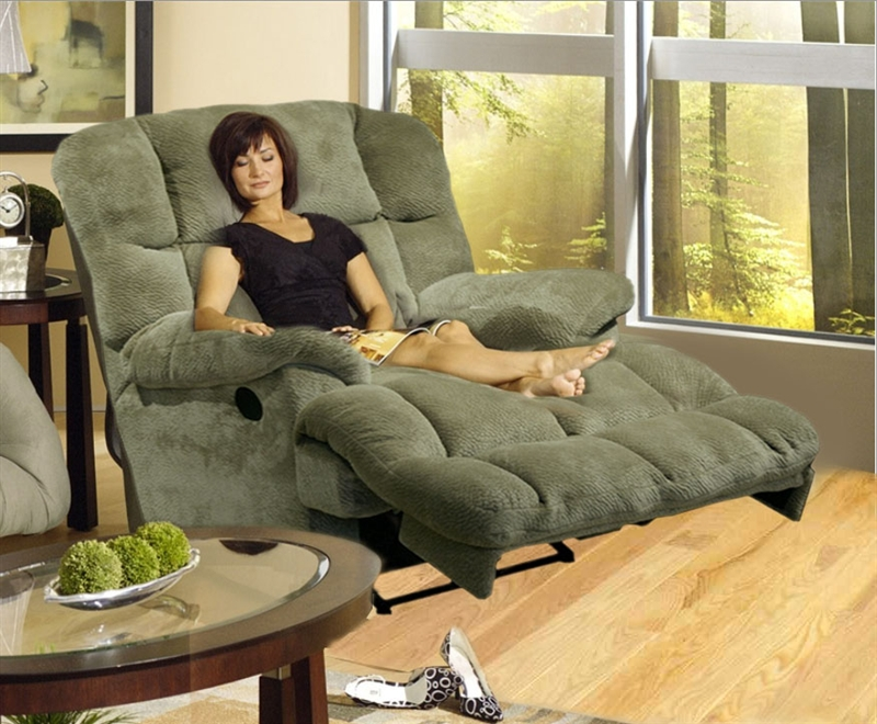 Jackpot reclining chaise in sage or chocolate microfiber for Catnapper reclining chaise