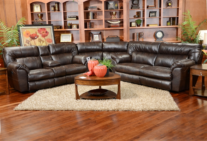 Nolan 3 Piece Leather Reclining Sectional By Catnapper