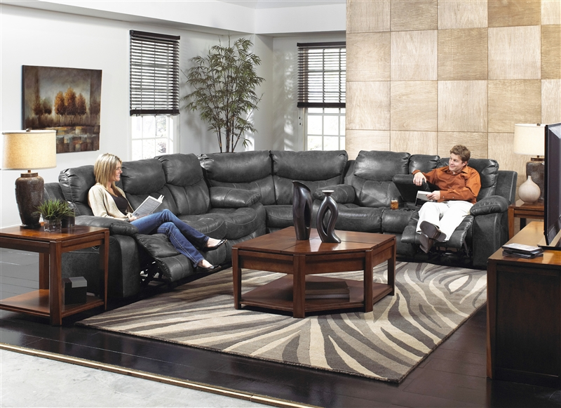 Catalina 3 piece leather reclining sectional by catnapper for Catnapper cloud nine chaise recliner