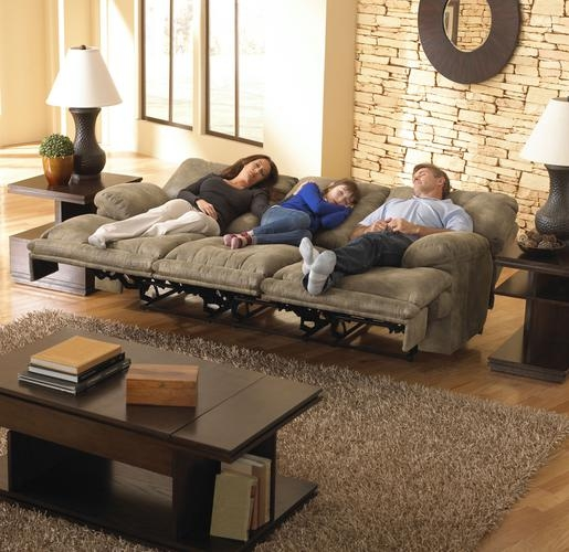 Voyager lay flat reclining sofa with drop down table in for Catnapper cloud nine chaise recliner