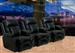 Geneva Theater Seating - 3 Black Leather Chairs By Catnapper - Manual Recline