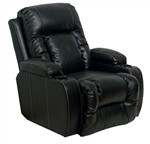 Geneva Theater Seating - 1 Black Leather Chair Manual or Power By Catnapper - 4427r