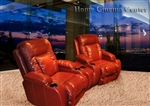 Geneva Theater Seating - 2 Red Leather Chairs By Catnapper - Manual Recline