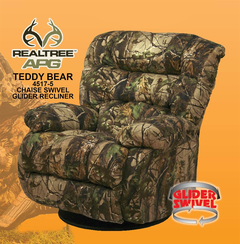 Teddy Bear APG Green Realtree Camouflage Chaise Swivel Glider Recliner By C