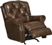 Davidson Rocker Recliner in Timber Leather by Catnapper - 4604-2-T