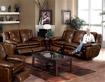Sonoma 2 Piece Dual Reclining Sofa Set in Sable Color Leather by Catnapper - 4971-S