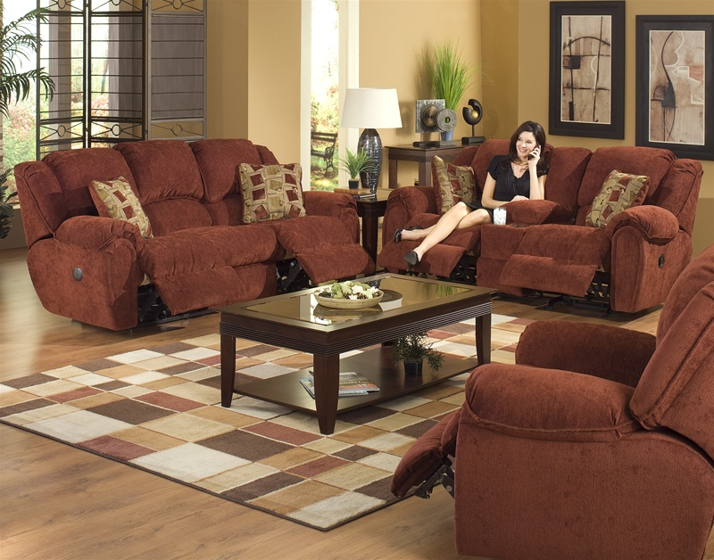 Conrad 2 Piece Power Reclining Sofa Set In Chianti Color Chenille Fabric By C