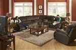 Escalade 3 Piece POWER Reclining Sectional in Chocolate/Walnut Two Tone Fabric by Catnapper - 61711-3
