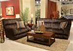 "Siesta 2 Piece POWER Lay Flat Reclining Set in ""Chocolate"" Color Fabric by Catnapper - 61761-2"