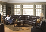 Arlington 3 Piece POWER Reclining Sectional in Mahogany Leather by Catnapper - 6477-3