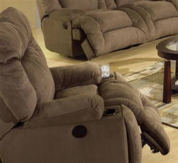 Jackpot Power Chaise Recliner with Cupholders in Coffee Microfiber Fabric by Catnapper - 6980-C