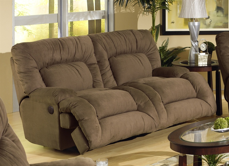 Jackpot power reclining chaise sofa in coffee microfiber for Catnapper cloud nine chaise recliner