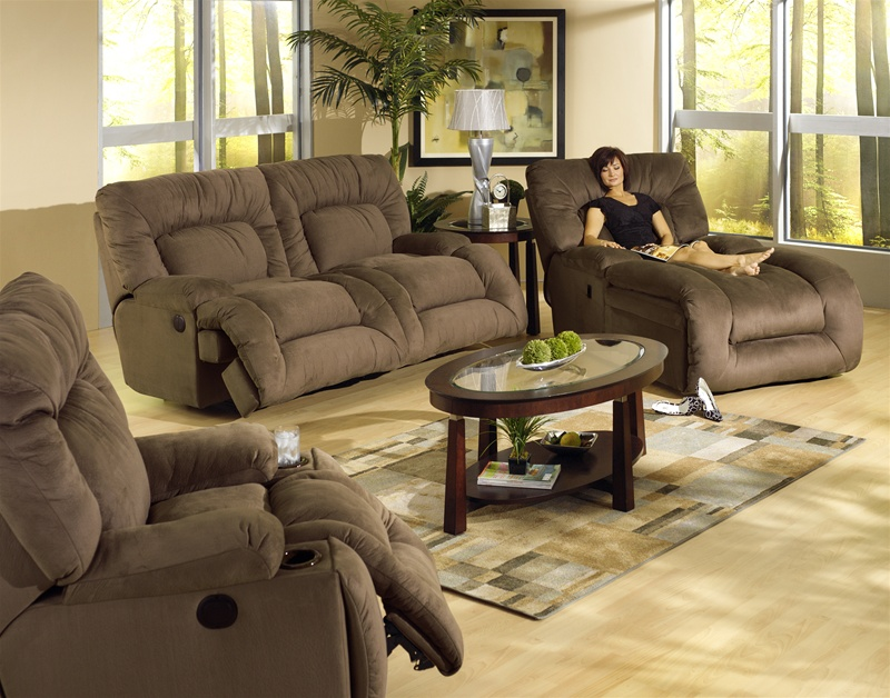 Jackpot power reclining chaise sofa in coffee microfiber for Catnapper jackpot reclining chaise