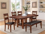 Peyton 6 Piece Dining Set in Cherry Finish by Crown Mark - 2100