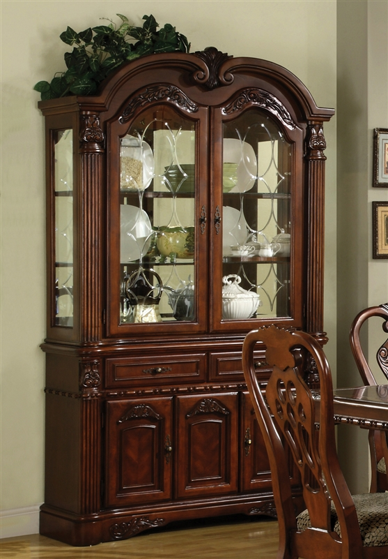 Brussels Buffet And Hutch In Cherry Finish By Crown Mark