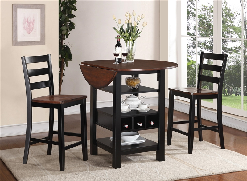 Kimball 3 Piece Counter Height Dining Set In Black And
