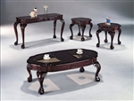 Scollop 3 Piece Occasional Table Set in Brown Cherry Finish by Crown Mark - 3661