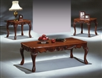 Laura 3 Piece Occasional Table Set in Cherry Finish by Crown Mark - 4146