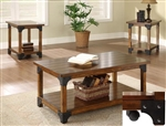 William 3 Piece Occasional Table Set in Rustic Oak Finish by Crown Mark - 4159