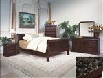 Louis Philip Youth 4 Piece Marble Bedroom Set in Dark Cherry Finish by Crown Mark - B3700-T