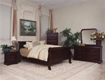 Louis Philip 4 Piece Youth Bedroom Set in Dark Cherry Finish by Crown Mark - B3730T