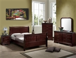 Louis Philip Youth 4 Piece Marble Bedroom Set in Distressed Dark Cherry Finish by Crown Mark - B3750-T