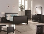 Louis Philip 4 Piece Youth Bedroom Set in Black Finish by Crown Mark - B3790T