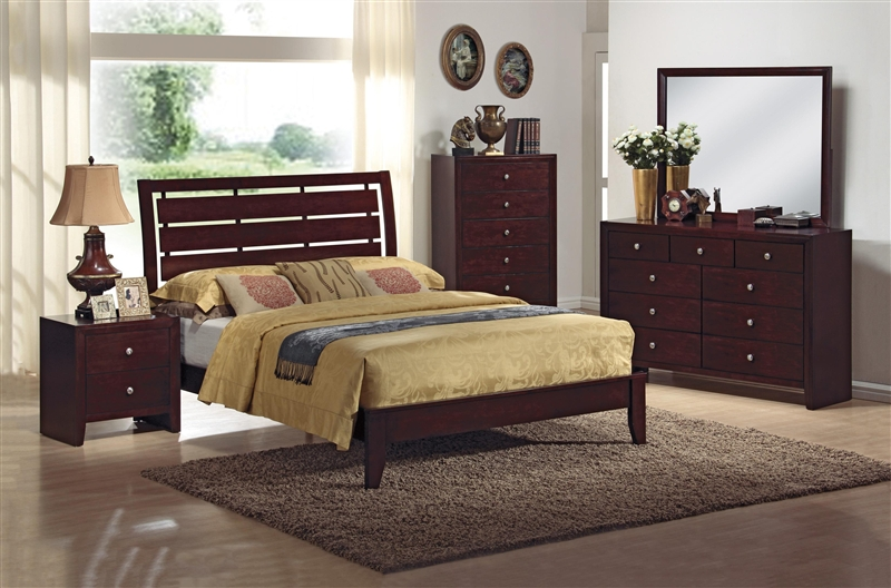 King platform bed plans - Evan 6 Piece Bedroom Suite In Brown Cherry Finish By Crown Mark