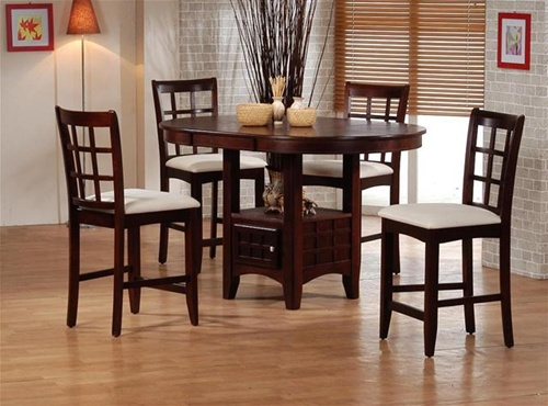 Sunburst Oak Counter Height 5 Piece Dining Set With Round