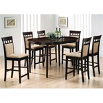 Rich Cappuccino 7 Piece Oval Counter Height Table Set with Upholstered Back Stools by Coaster-100208B