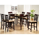 Rich Cappuccino 7 Piece Oval Counter Height Table Set with Wheat Back Design Barstools by Coaster-100208C