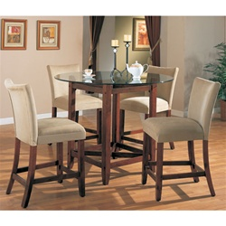Counter Height 5 Piece Dining Set in Cherry Finish with Round Glass ...