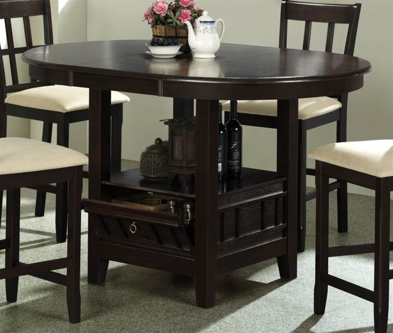 5 Piece Round Counter Height Table Set in Dark Cherry  : COA 100888 3 from www.homecinemacenter.com size 800 x 678 jpeg 157kB