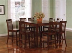 9 Piece Counter Height Table Set in Rich Walnut Finish by Coaster - 101038WLN