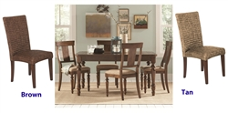 Jonas 5 Piece Dining Set with Woven Stools in Rustic Brown Finish by Coaster - 101093