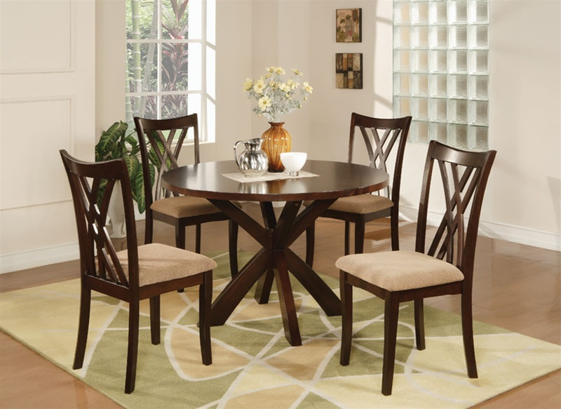 Martha 5 piece dining set in espresso finish by coaster 101581 - Green dining room furniture ideas ...