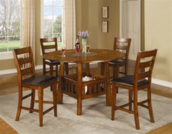 Lavista 5 Piece Counter Height Dining Set in Distressed Dark Oak Finish by Coaster - 102158