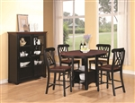 Cameron 5 Pc Cottage Counter Height Round Pedestal Table Set in Black & Dark Cherry Finish by Coaster - 102228