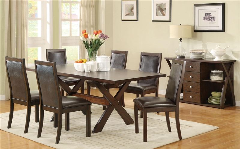 dobson  pc x base dining table set in deep oak finish by coaster : seven piece dining set