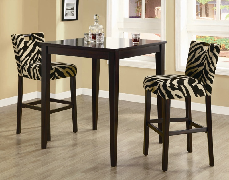 Zebra 3 Piece Pub Table Set In Cappuccino Finish By Coaster 102588