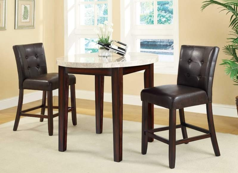 3 Piece Counter Height Dining Set In Brown Finish By
