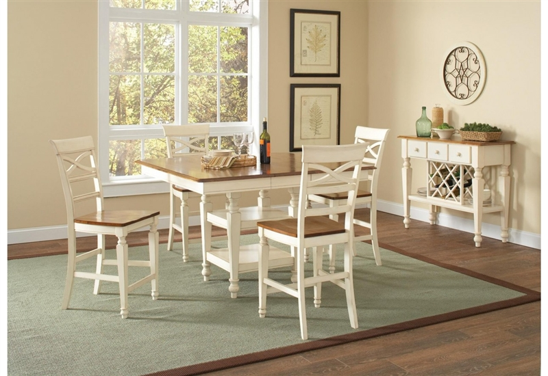 Ashley 5 Piece Counter Height Dining Set In Two Tone White