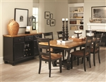 Charlotte 5 Piece Dining Table Set in Rustic Amber/Black Two Tone Finish by Coaster - 104611