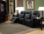 Showtime Collection - Black Leather Theater Seating by Coaster - 7537