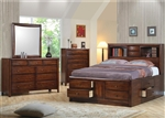 Hillary Storage Bookcase Bed 6 Piece Bedroom Set in Warm Brown Finish by Coaster - 200609