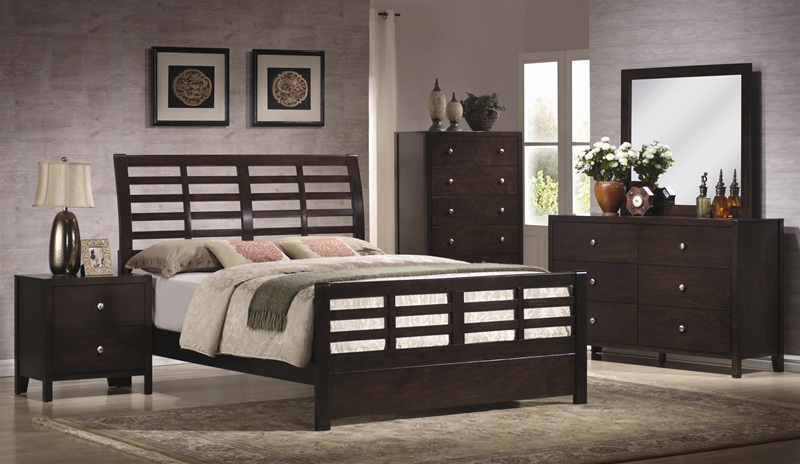 Zoe 6 piece bedroom set in rich dark brown finish by for Dark brown bedroom furniture sets