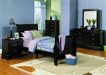 Louis Philippe 4 Piece Youth Bedroom Set in Black Finish by Coaster - 201071T